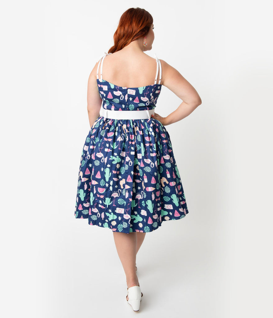 26040e4341e ... Collectif Plus Size 1950s Style Navy Blue Summer Flamingo Print Jade  Swing Dress ...