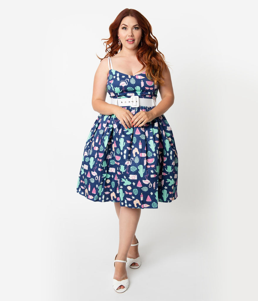 577b78a1fcd ... Collectif Plus Size 1950s Style Navy Blue Summer Flamingo Print Jade  Swing Dress