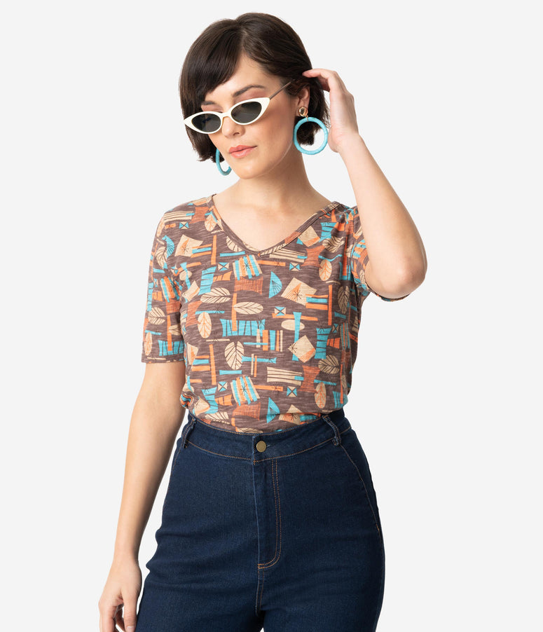 Brown & Multicolor Mid-Century Print Cotton Short Sleeve Top