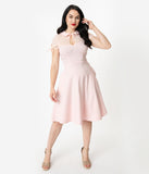 Collectif Light Pink Stretch Mesh Cap Sleeve Kitten Swing Dress