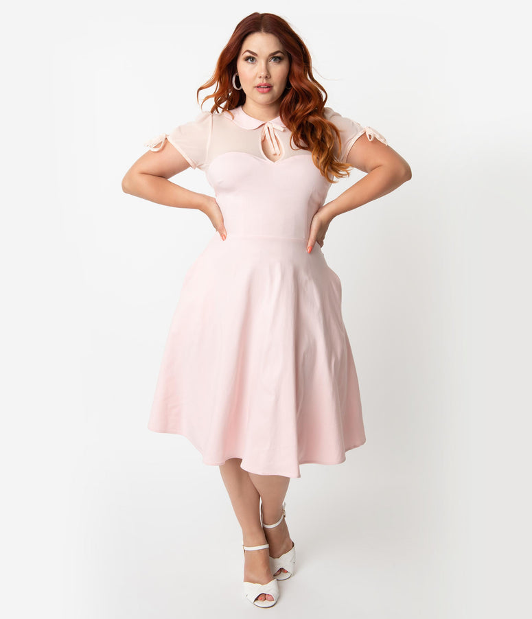 7071ab9ab0 Collectif Plus Size Light Pink Stretch Mesh Cap Sleeve Kitten Swing Dress