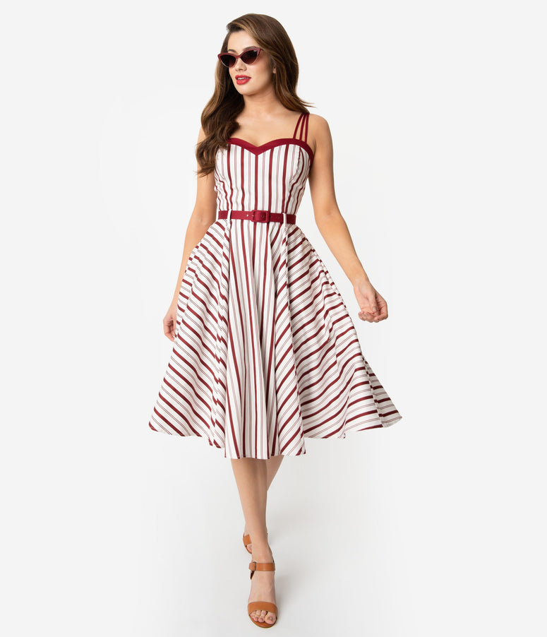 Collectif Retro Burgundy Red & Ivory Candy Stripe Cotton Nova Swing Dress