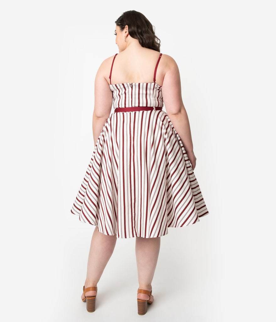 Collectif Plus Size Retro Burgundy Red & Ivory Candy Stripe Cotton Nova Swing Dress