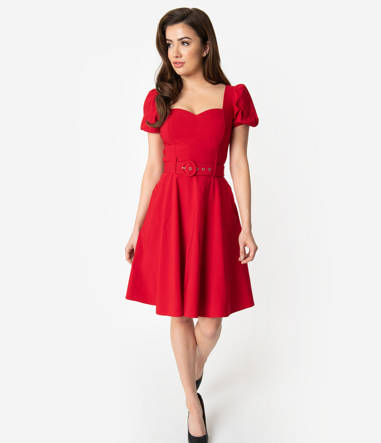 Collectif 1950s Style Red Sweetheart Short Sleeve Paisley Fit & Flare Dress