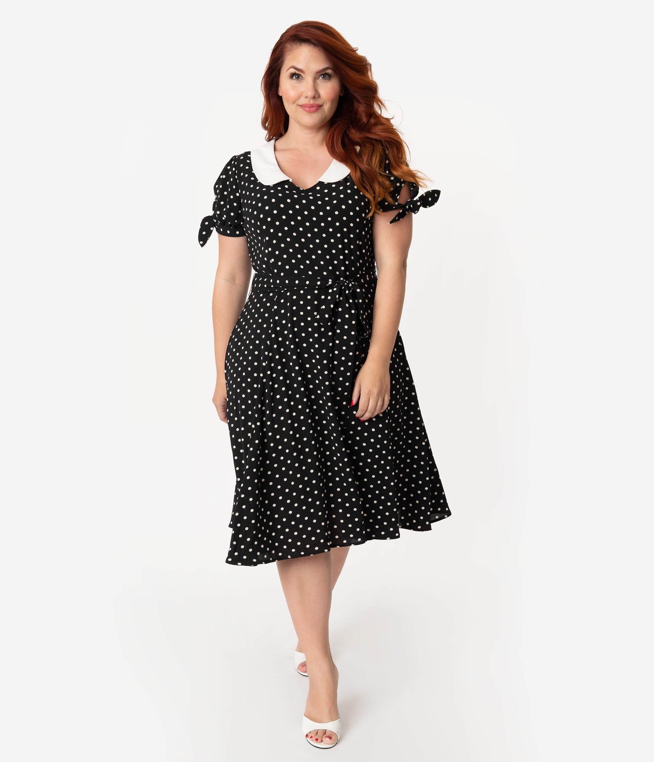 1940s Plus Size Clothing: Dresses History Collectif Plus Size 1940S Style Black  White Polka Dot Mirella Swing Dress $78.00 AT vintagedancer.com
