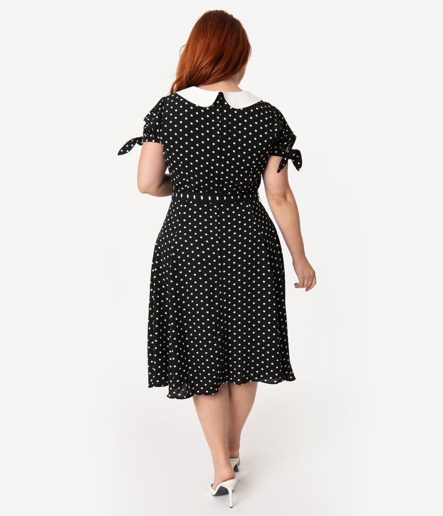 685edc0be ... Collectif Plus Size 1940s Style Black & White Polka Dot Mirella Swing  Dress ...