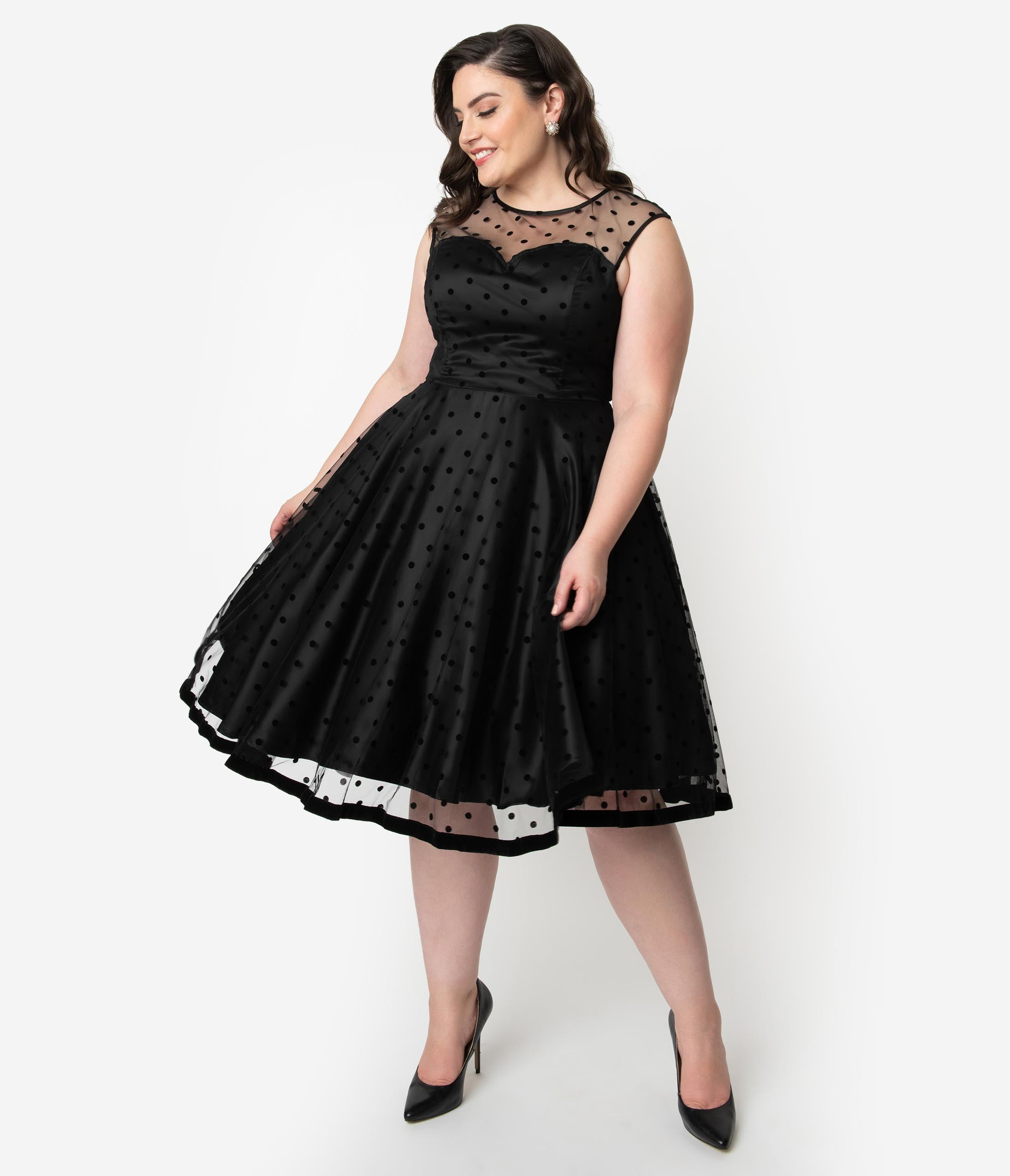 1950s Cocktail Dresses, Party Dresses Collectif Plus Size 1950S Style Black Swiss Dot Illusion Neckline Faye Swing Dress $168.00 AT vintagedancer.com
