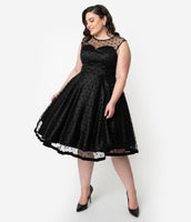 Plus Size Vintage Back Zipper Fitted Illusion Mesh Banding Button Closure Dots Print Cap Sleeves Velvet Bateau Neck Sweetheart Swing-Skirt Little Black Dress