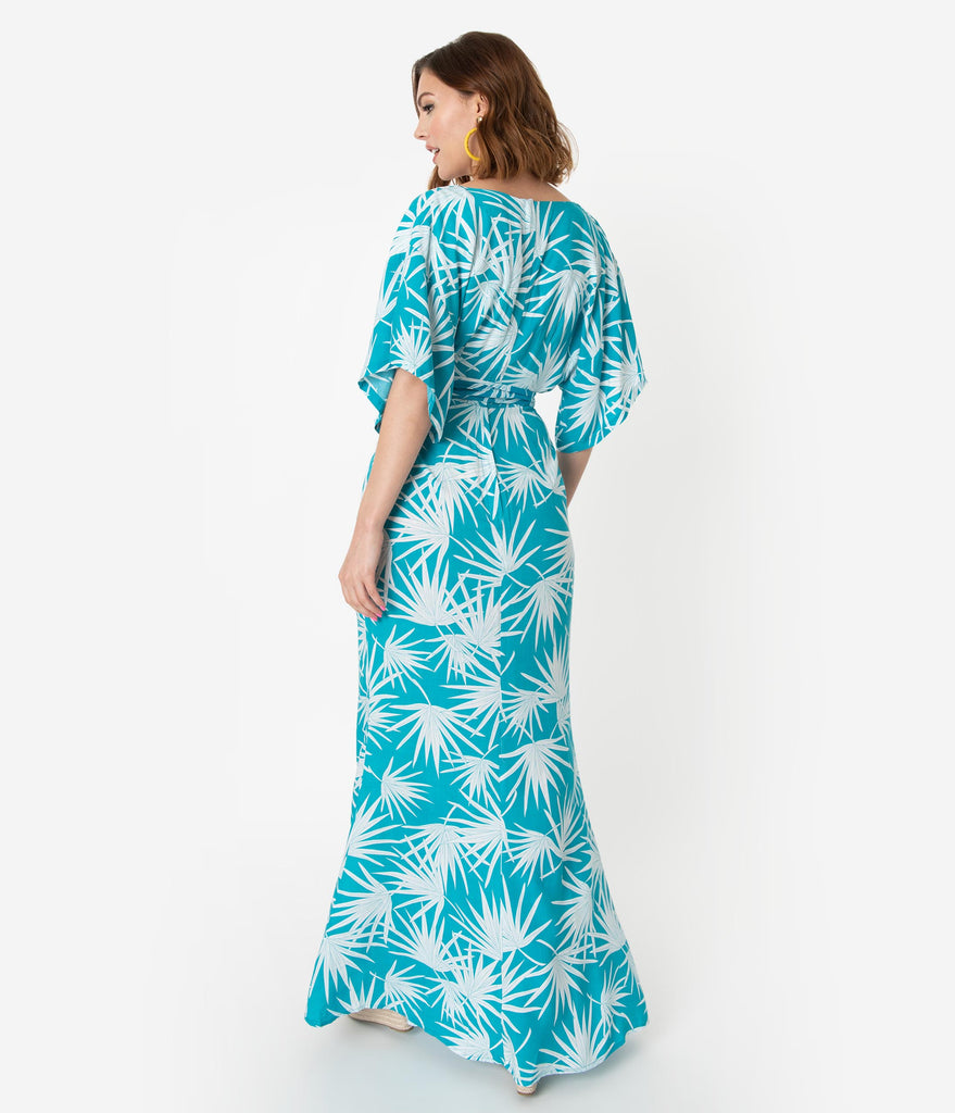 Collectif Vintage Teal Palm Print Kelly Maxi Faux Wrap Dress