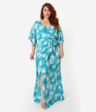 Collectif Plus Size Vintage Teal Palm Print Kelly Maxi Faux Wrap Dress