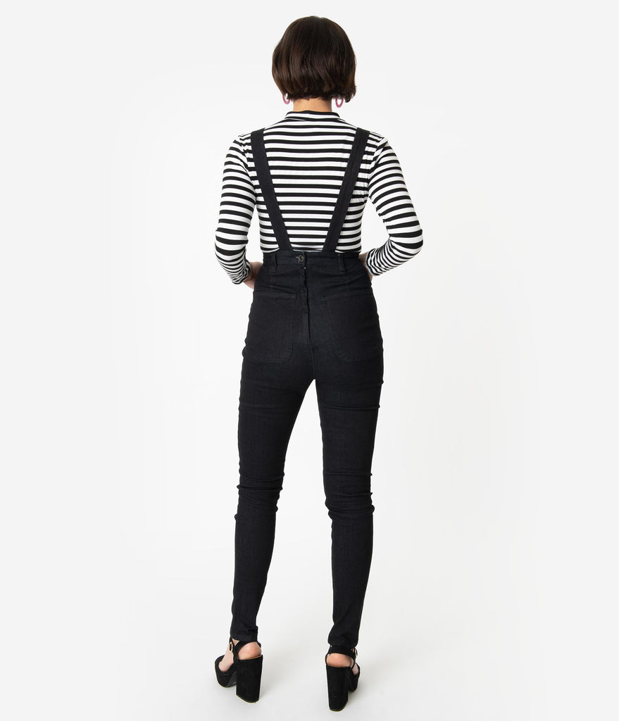 Collectif Retro Style Black Cotton Becca Suspender Jean Dungarees