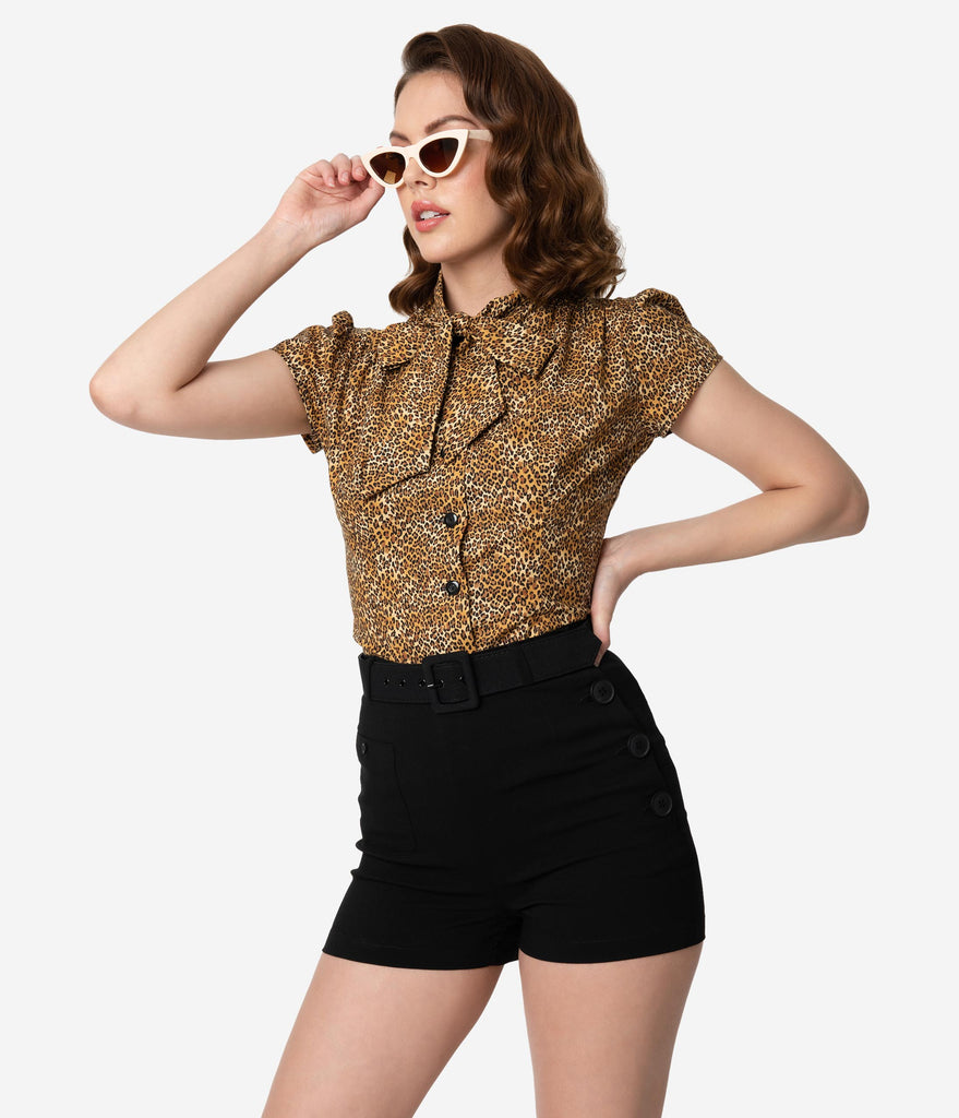 Collectif Retro Style Black Belted High Waist Gertrude Shorts