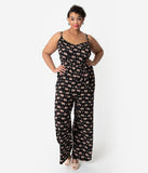 Unique Vintage Plus Size Black Elephant Print Crepe Raleigh Jumpsuit