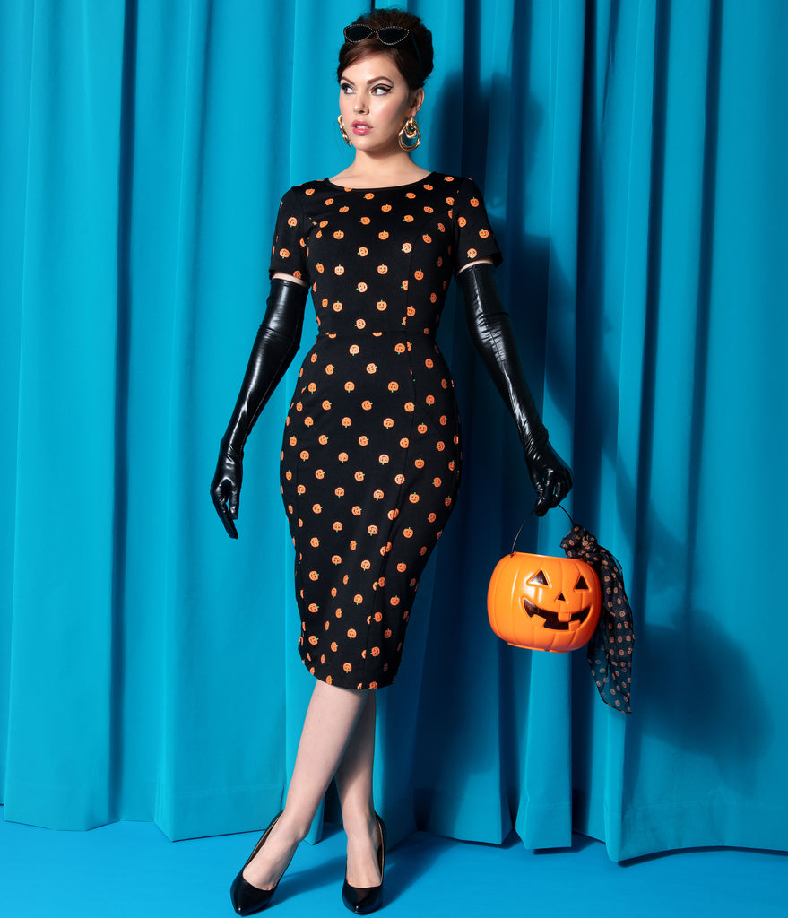 Unique Vintage Black & Orange Pumpkin Patch Short Sleeve Mod Wiggle Dress