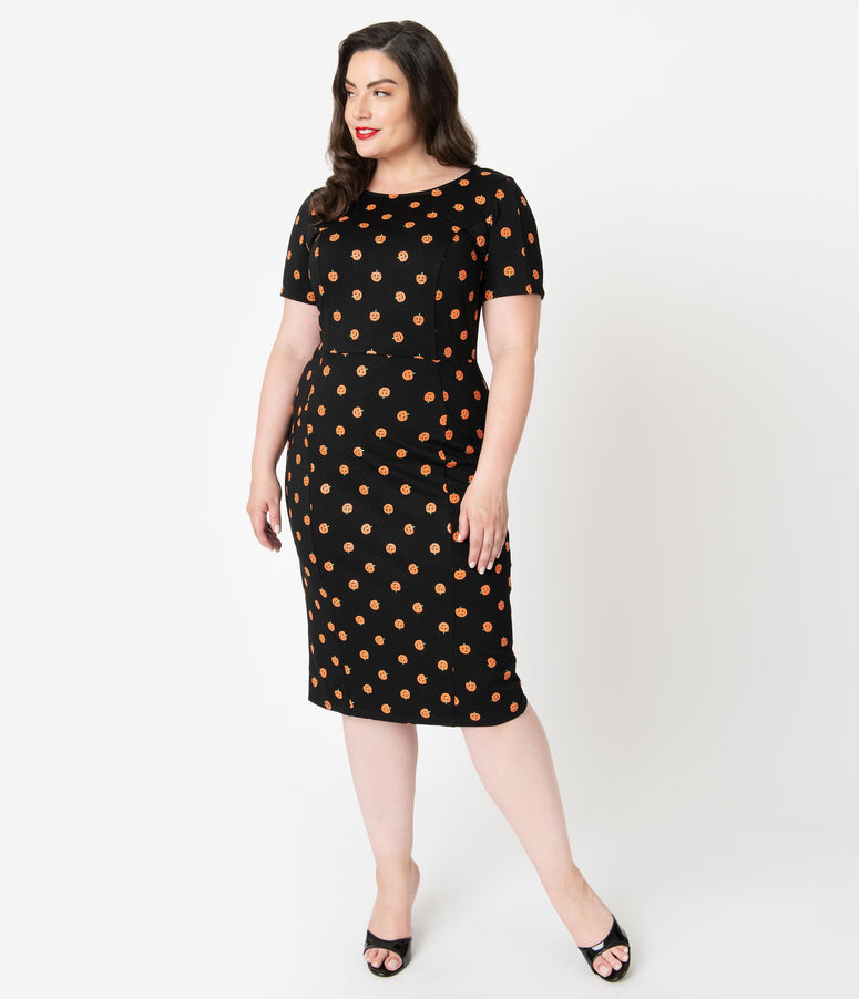 Unique Vintage Plus Size Black & Orange Pumpkin Patch Short Sleeve Mod Wiggle Dress