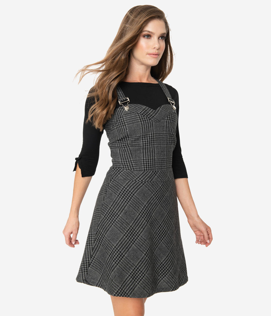 1960s Style Grey Plaid Overall Flare Dress