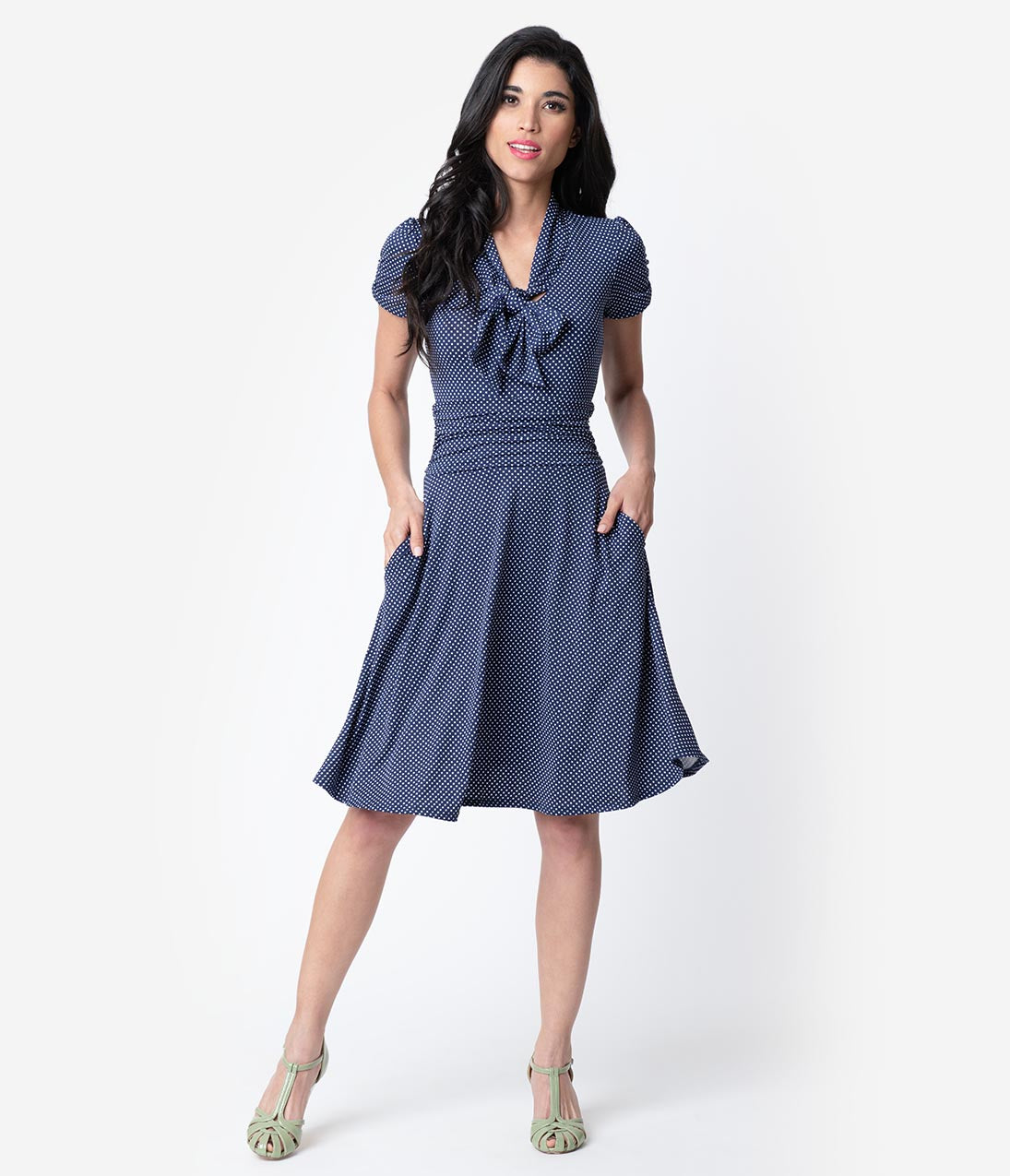1940s Dresses | 40s Dress, Swing Dress Folter Navy  White Pin Dot Print Short Sleeve Fit  Flare Dress $72.00 AT vintagedancer.com