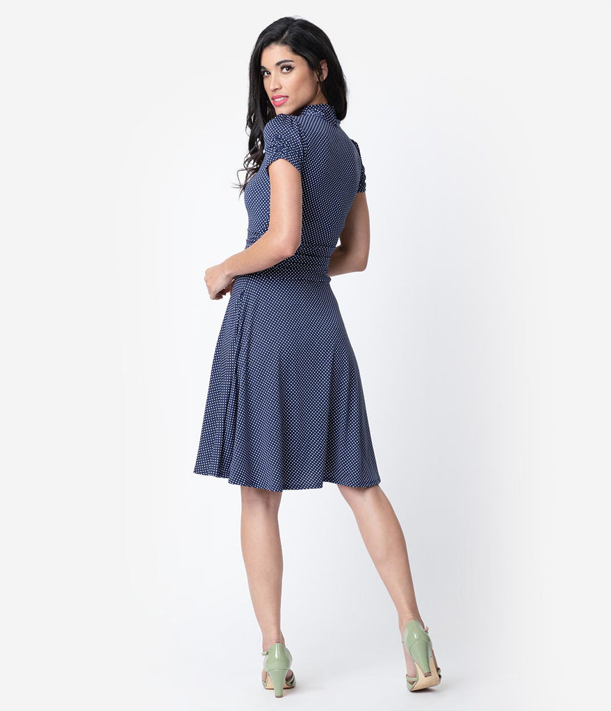 4ff1363b8ee ... Folter Navy   White Pin Dot Print Short Sleeve Fit   Flare Dress ...