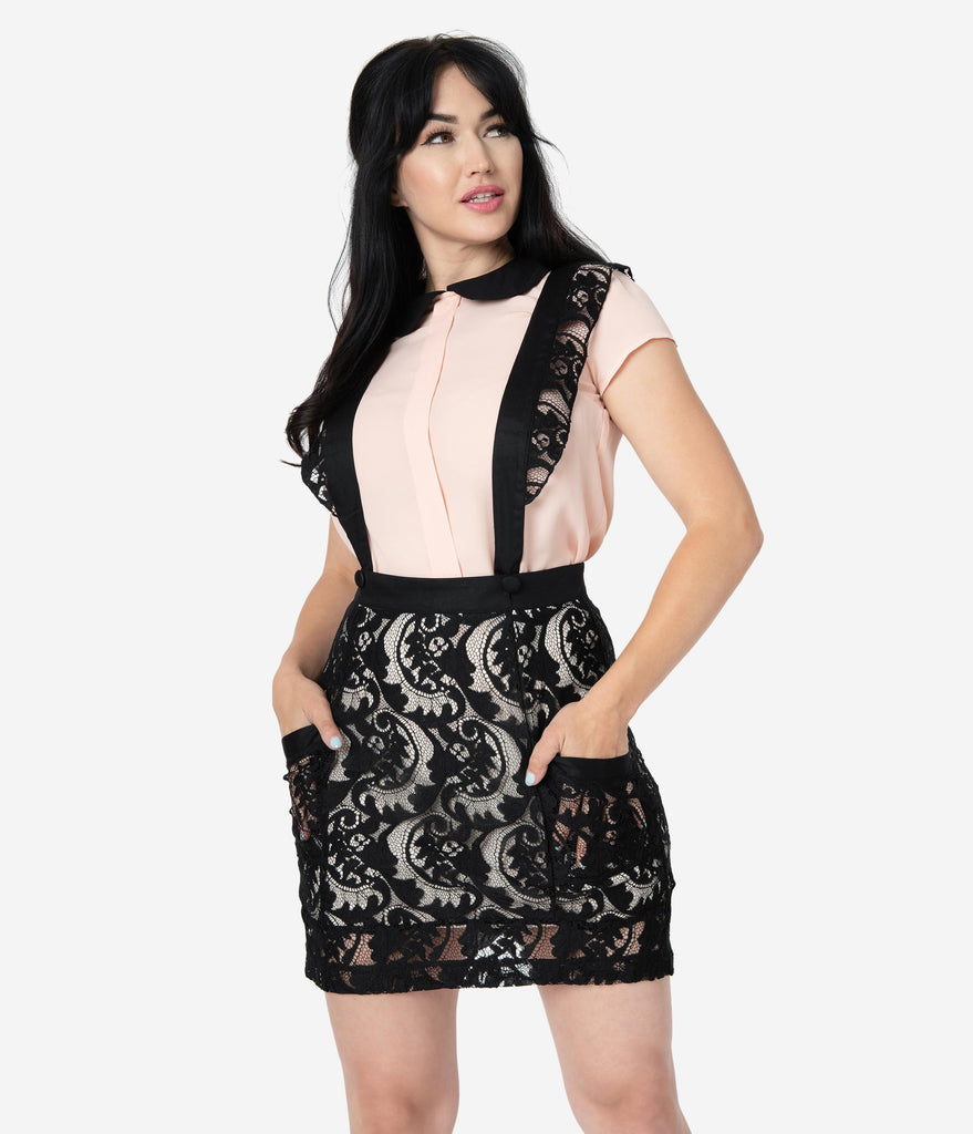 Black Lace Frill Me Suspender Mini Skirt