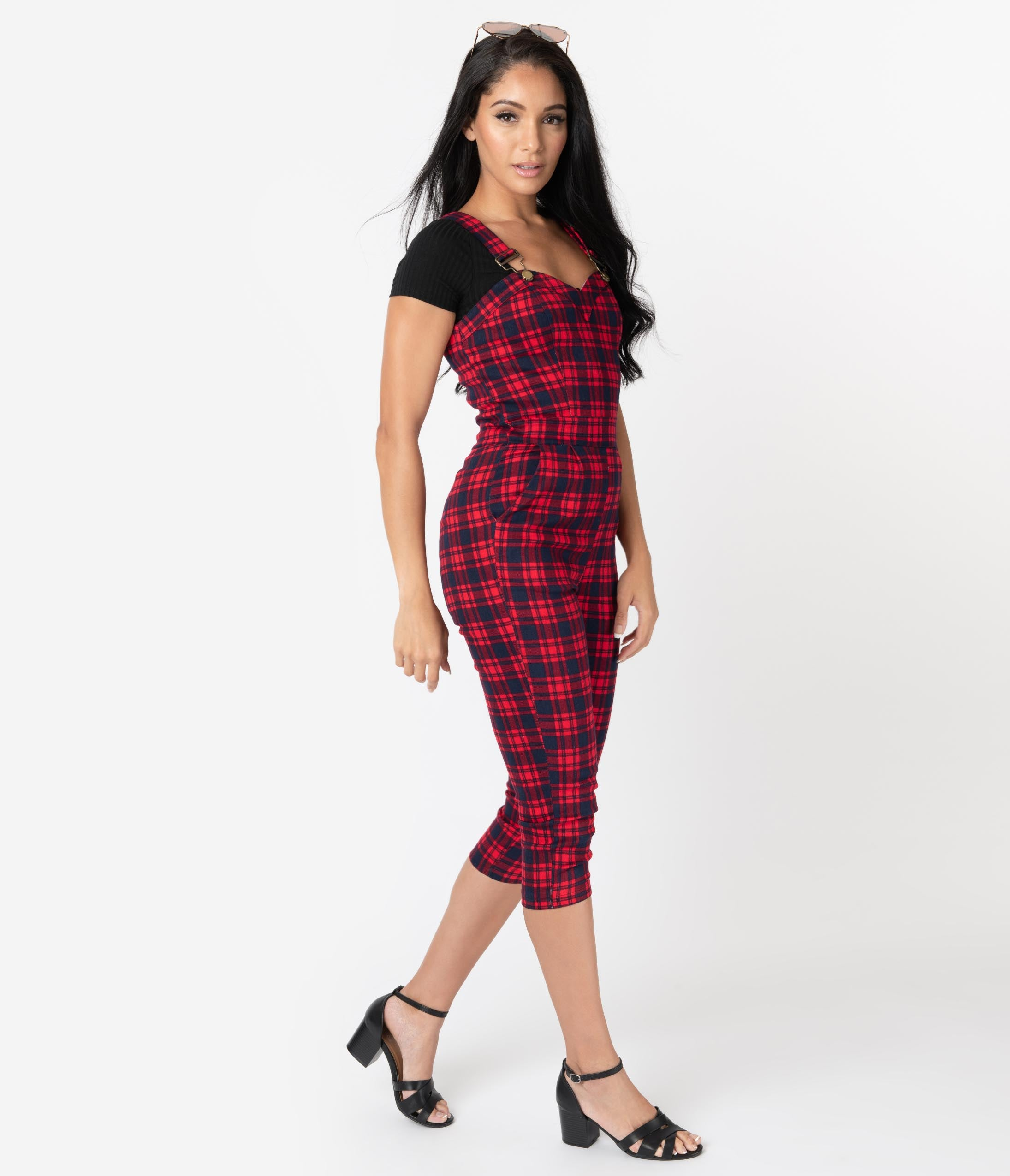 1950s Fashion History: Women's Clothing Retro Style Red  Navy Plaid Cotton Overall Capri Jumpsuit $72.00 AT vintagedancer.com