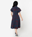 Unique Vintage 1950s Dark Blue & Burgundy Red Damask Print Baltimore Swing Dress
