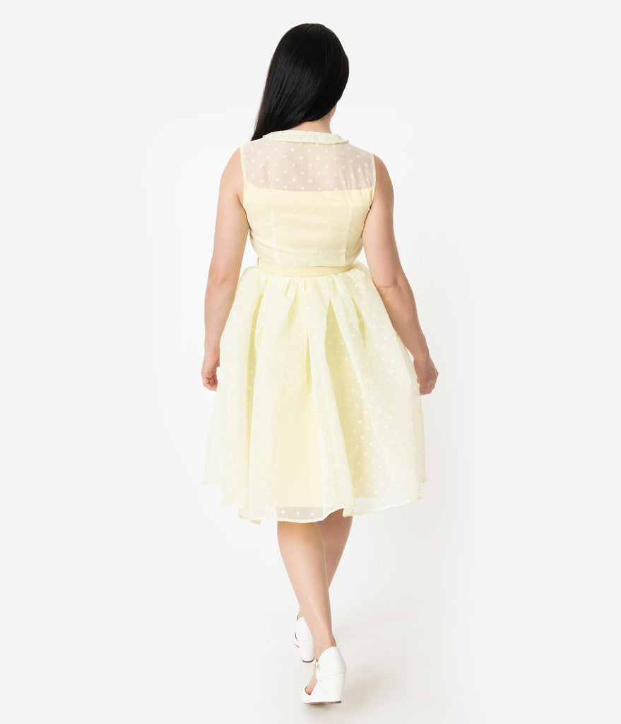 Unique Vintage 1950s Style Yellow Swiss Dotted Sleeveless Georgia Swing Dress