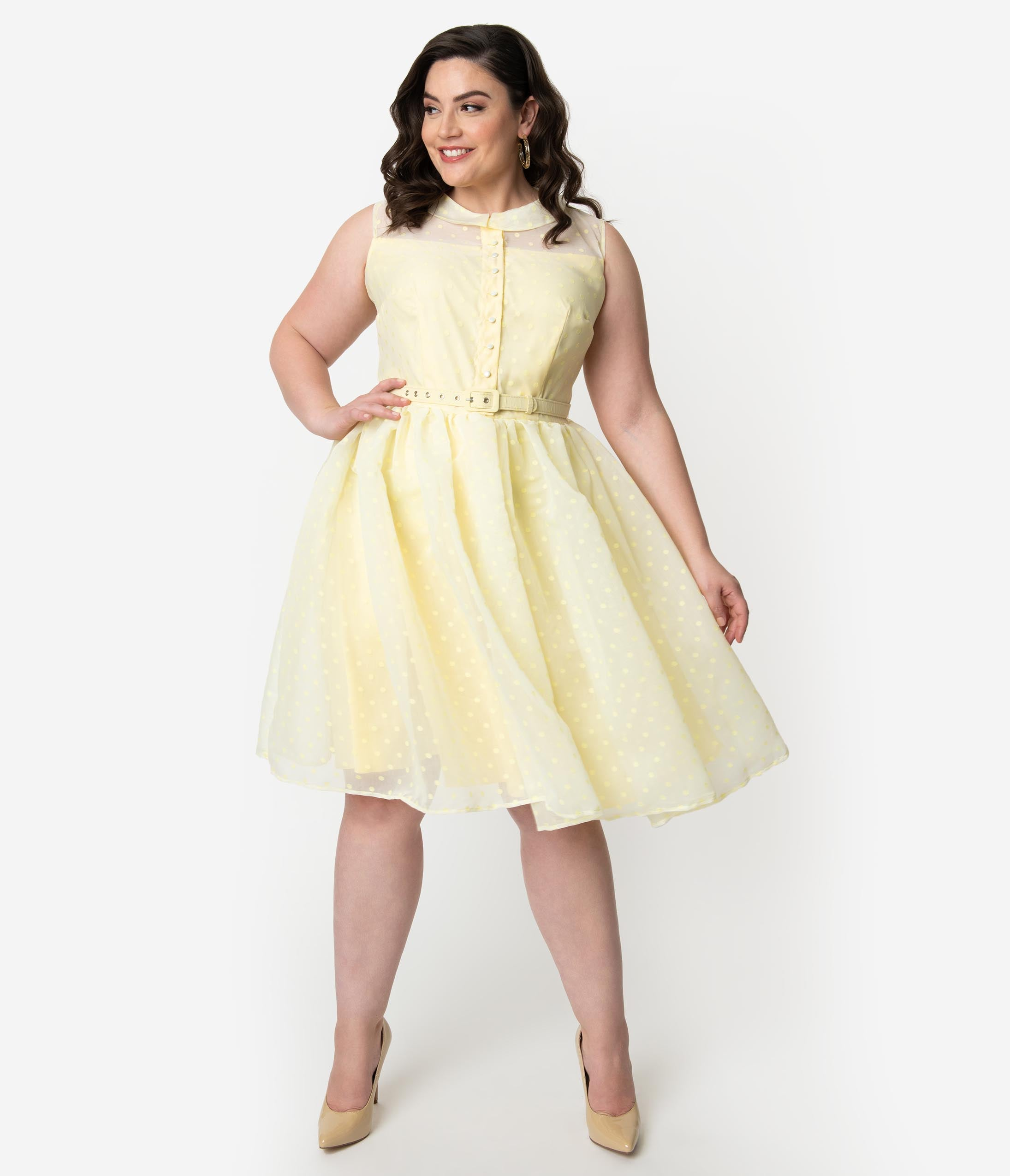 ffb670a8d4f Unique Vintage Plus Size 1950s Style Yellow Swiss Dotted Sleeveless Georgia  Swing Dress