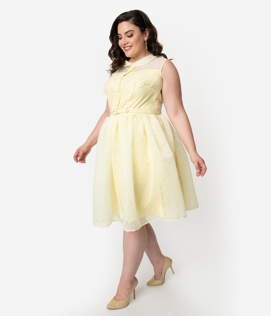 Unique Vintage Plus Size 1950s Style Yellow Swiss Dotted Sleeveless Georgia Swing Dress