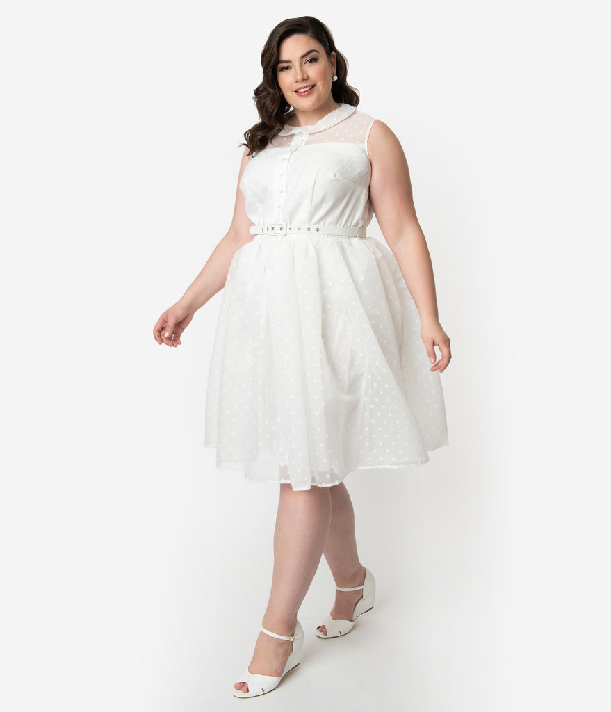 Unique Vintage Plus Size 1950s Style White Swiss Dotted Sleeveless Georgia Swing Dress