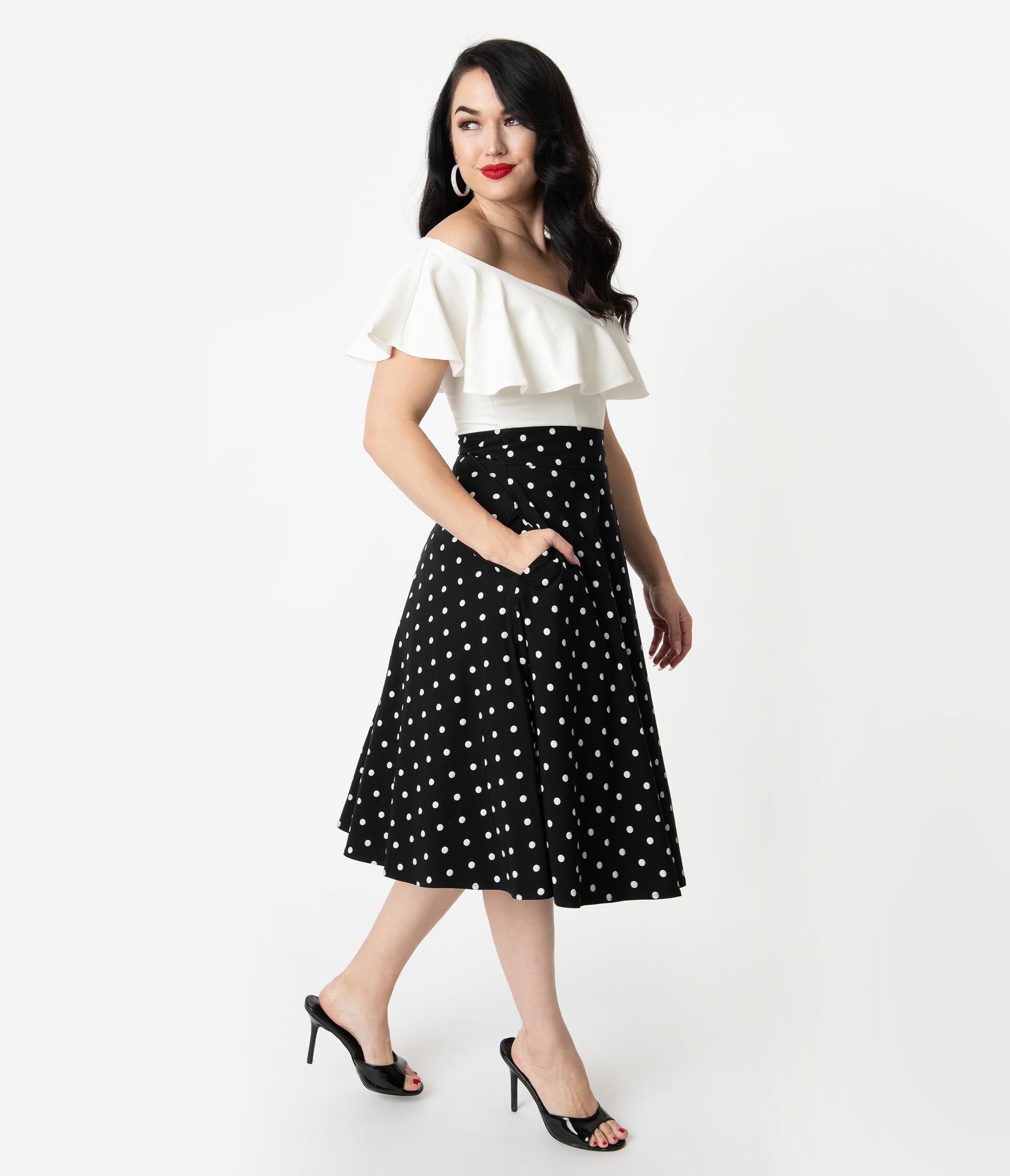 1950s Swing Skirt, Poodle Skirt, Pencil Skirts Unique Vintage Retro Style Black  White Polka Dot High Waist Vivien Swing Skirt $58.00 AT vintagedancer.com