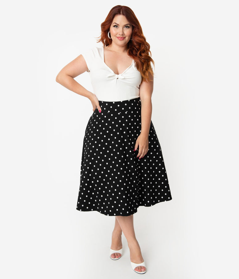 b9354d5e0302bb Unique Vintage Plus Size Retro Style Black & White Polka Dot High Waist  Vivien Swing Skirt