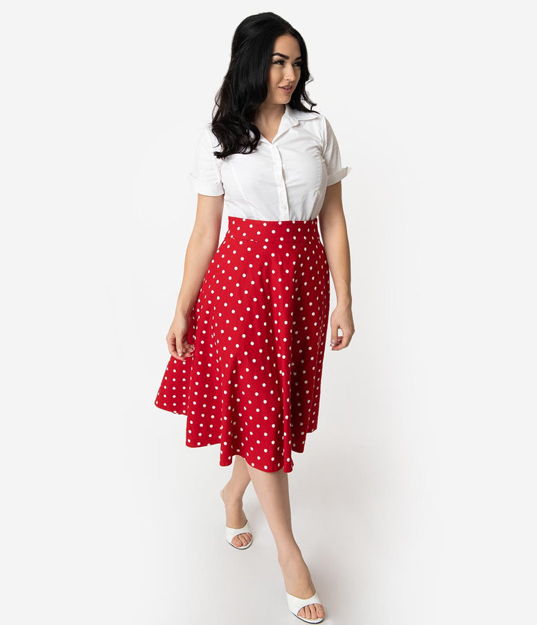 ef279bf99e433b Unique Vintage Retro Style Red & White Polka Dot High Waist Vivien Swing  Skirt