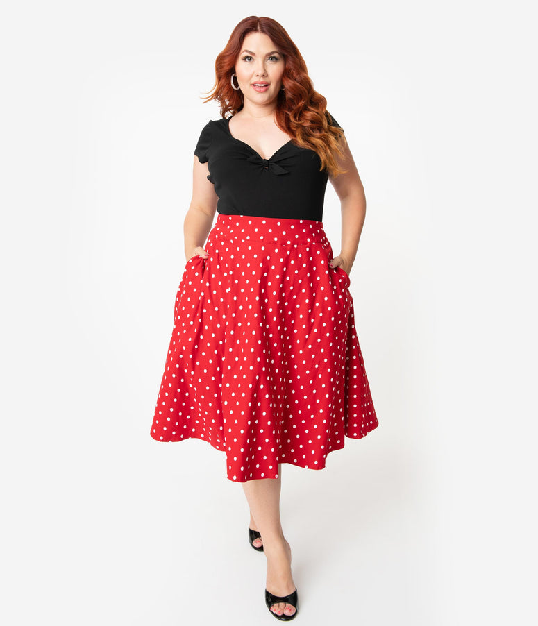 1b30bc3eb Unique Vintage Plus Size Retro Style Red & White Polka Dot High Waist  Vivien Swing Skirt