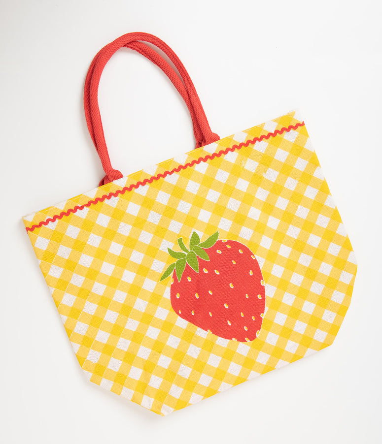 f68391b309 Retro Style Yellow Gingham Strawberry Jute Tote Bag