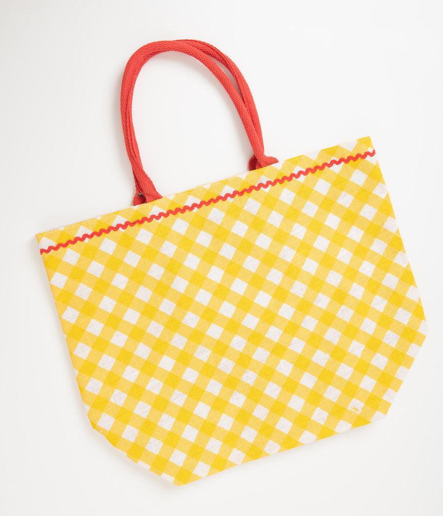 Retro Style Yellow Gingham Strawberry Jute Tote Bag