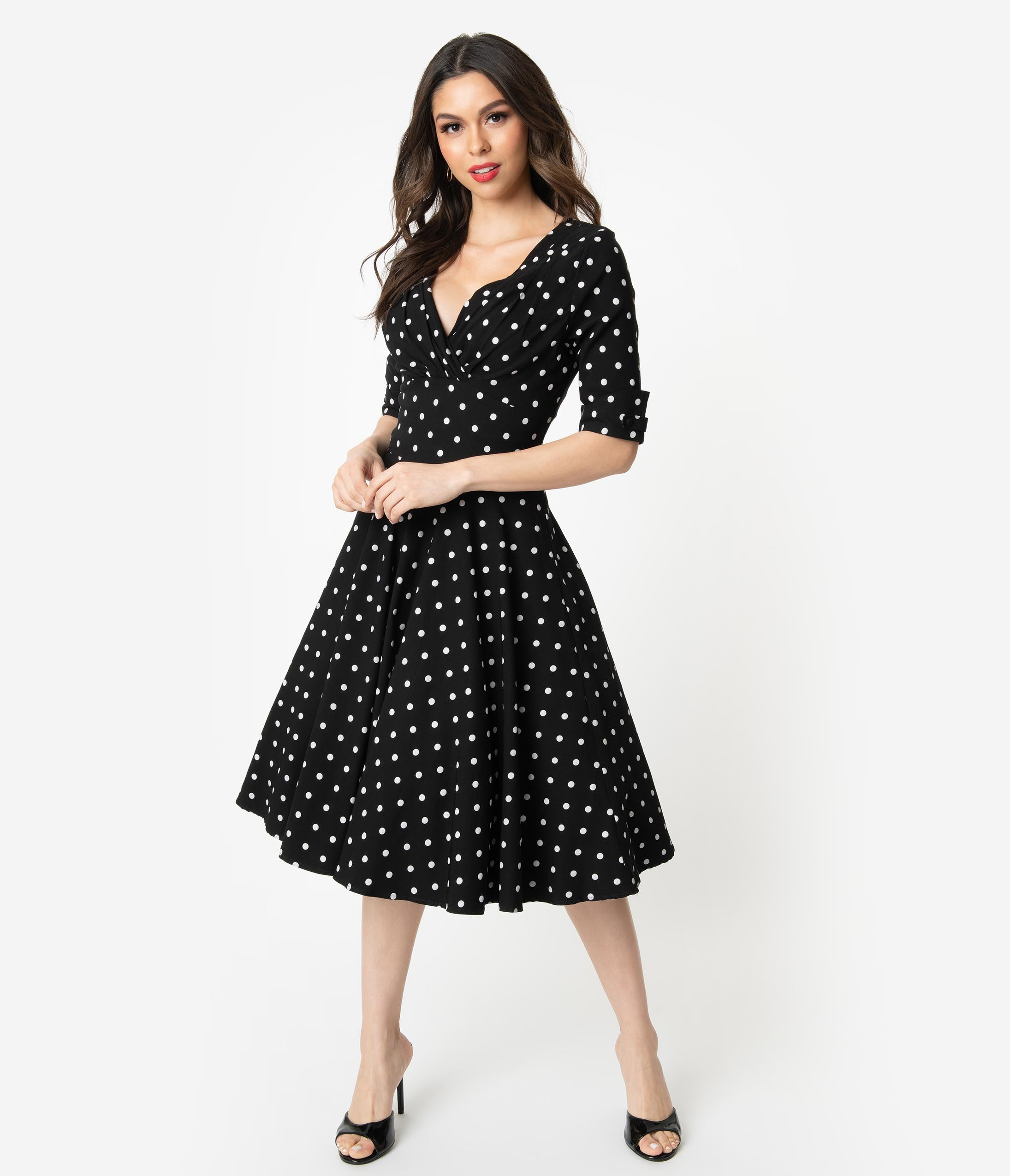 Rockabilly Dresses | Rockabilly Clothing | Viva Las Vegas Unique Vintage 1950S Black  White Polka Dot Delores Swing Dress With Sleeves $92.00 AT vintagedancer.com