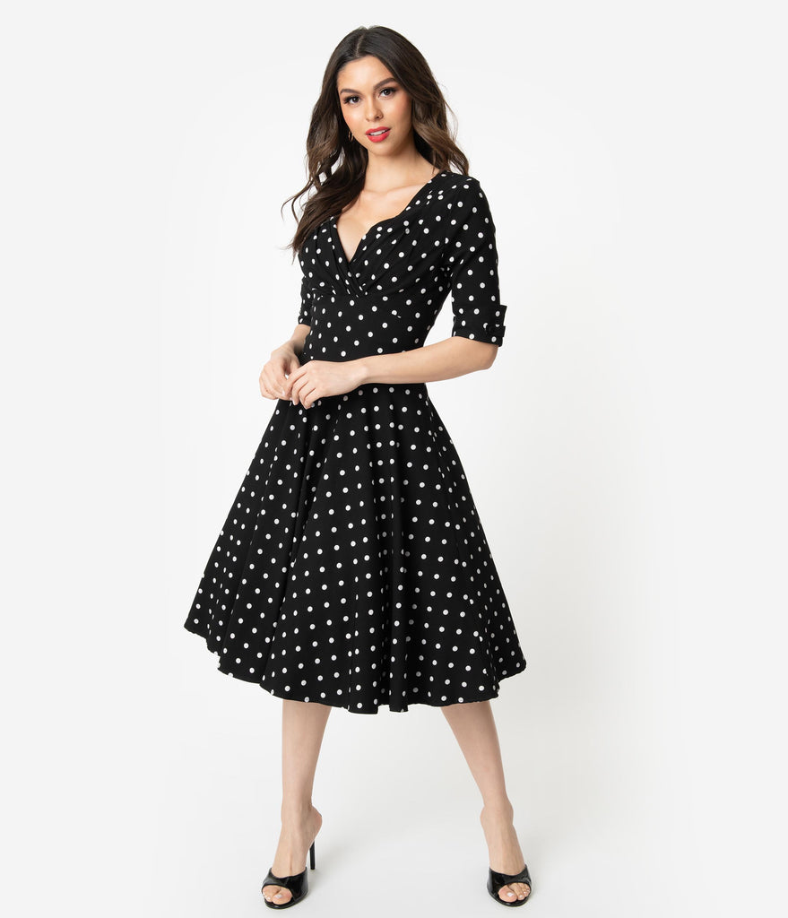 dad6bc3cb2ec Unique Vintage 1950s Black   White Polka Dot Delores Swing Dress with