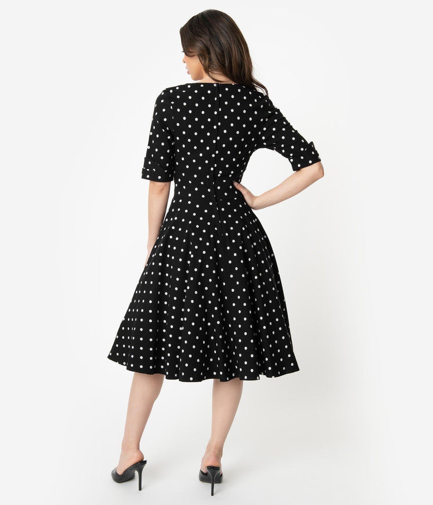 Unique Vintage 1950s Black & White Polka Dot Delores Swing Dress with Sleeves