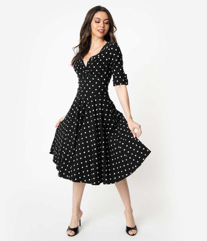 d0bbf4d62050c3 ... Unique Vintage 1950s Black   White Polka Dot Delores Swing Dress with  Sleeves ...