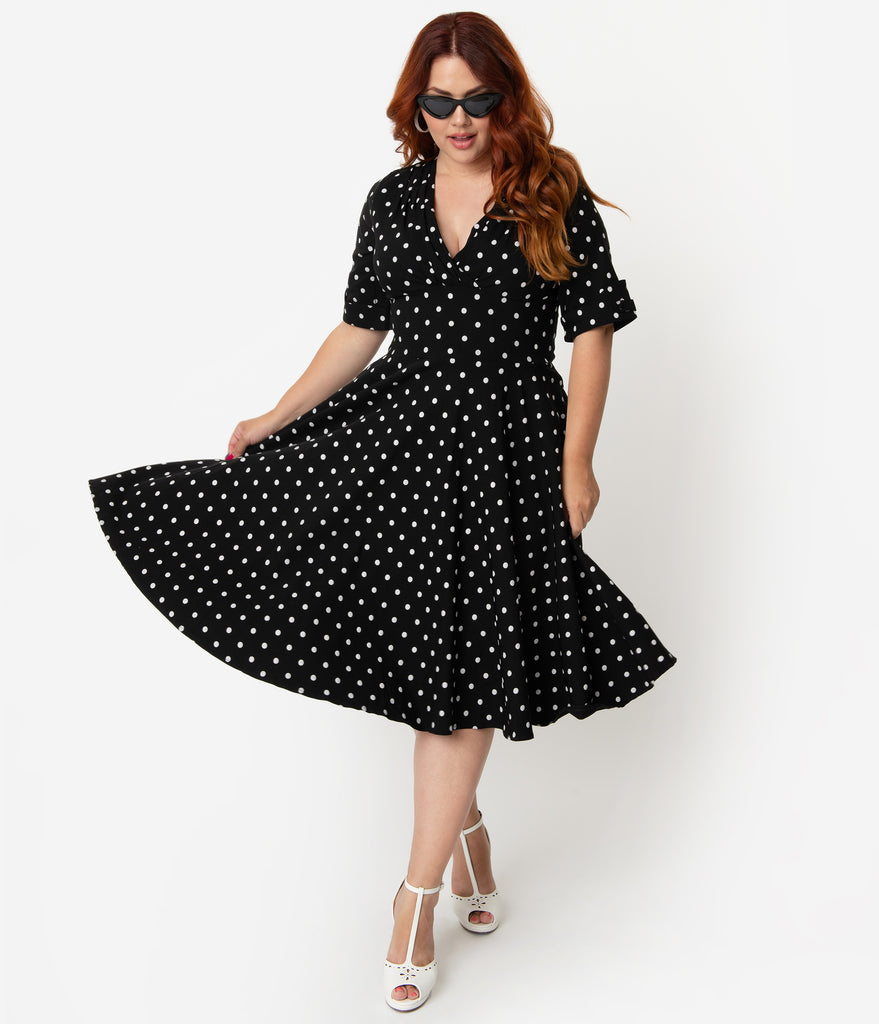 Unique Vintage Plus Size 1950s Black & White Polka Dot Delores Swing Dress  with Sleeves
