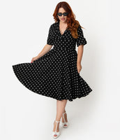 Plus Size A-line V-neck Above the Knee Natural Waistline Stretchy Gathered Banding Vintage Pleated Swing-Skirt Elbow Length Sleeves Polka Dots Print Dress With a Bow(s)