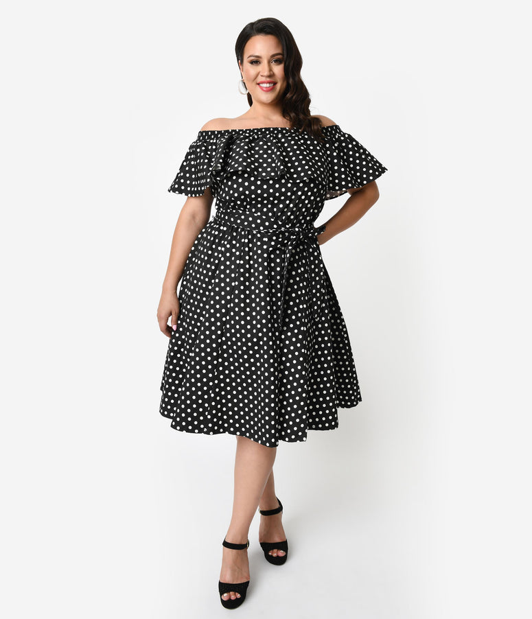 4b61a64668b Unique Vintage Plus Size Black   White Polka Dot Off Shoulder Ruffle  Nashville Swing Dress