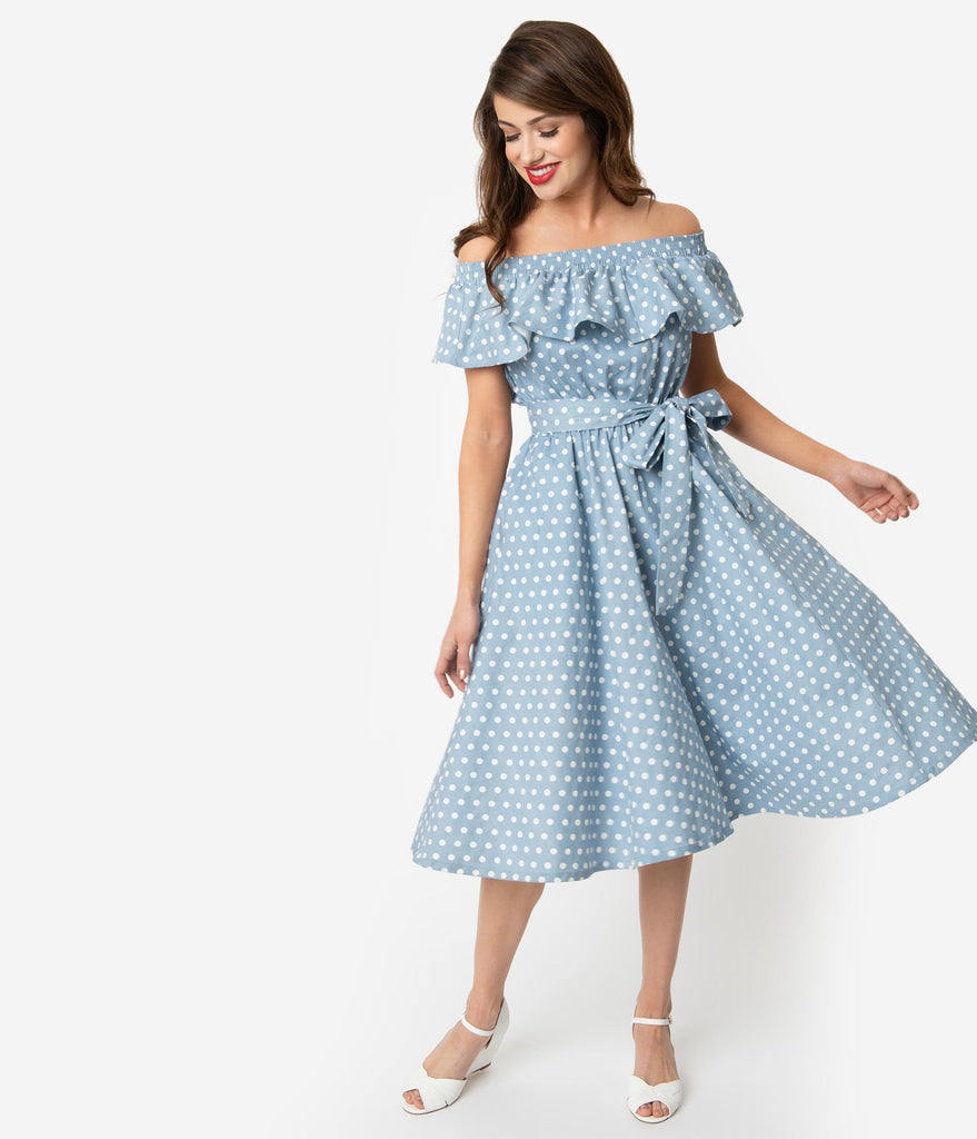 Unique Vintage Dusty Blue & White Polka Dot Off Shoulder Ruffle Nashville Swing Dress