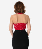 Unique Vintage Red & White Dotted Stretch Rita Cross Halter Top