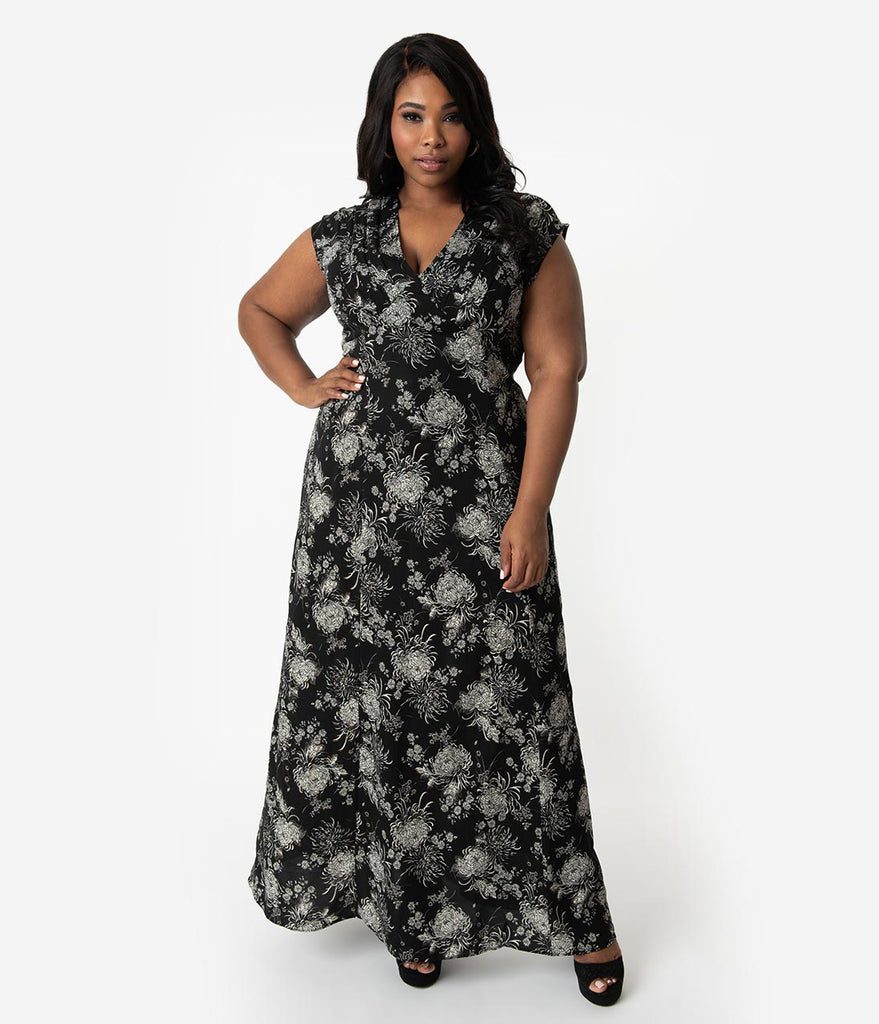 Unique Vintage Plus Size Black & Ivory Floral Sparkle Cap Sleeve Cass Maxi