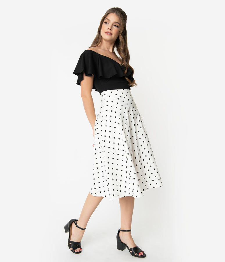 dfbd53f723fb78 Unique Vintage Retro Style White & Black Polka Dot High Waist Vivien Swing  Skirt