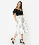 Unique Vintage Retro Style White & Black Polka Dot High Waist Vivien Swing Skirt