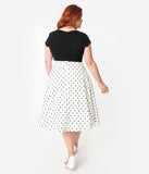 Unique Vintage Plus Size Retro Style White & Black Polka Dot High Waist Vivien Swing Skirt