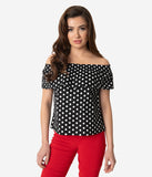 Unique Vintage Black & White Polka Dot Off Shoulder Ruffle Luanne Top