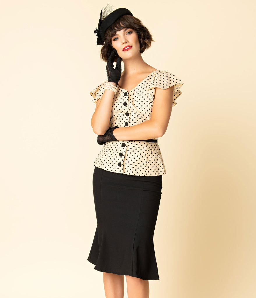 Unique Vintage 1940s Style Cream & Black Dotted Ivy Suit Dress